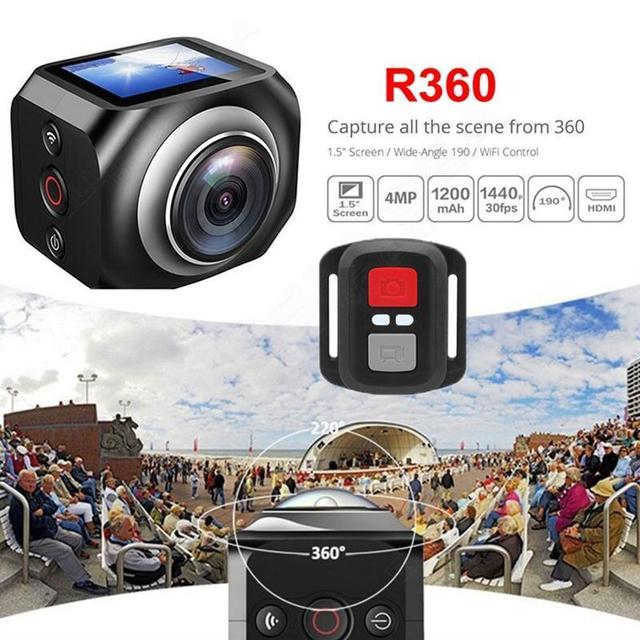 Free shipping!  R360 220 Degree WiFi Action camera 1920 /30fps full HD 1.5 Screen with Remote Control
