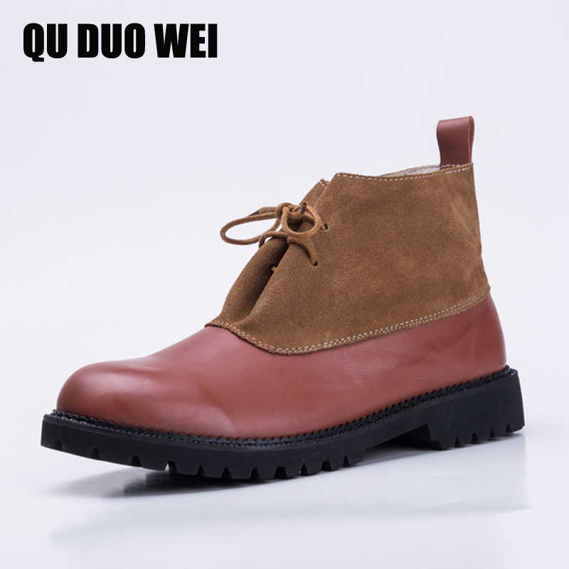 QUDUOWEI Handmade Women Short Boots Genuine Leather Ladies Shoes Flats Spring Autumn Lace up Ankle Boots Female Footwear front lace up casual ankle boots autumn vintage brown new booties flat genuine leather suede shoes round toe fall female fashion