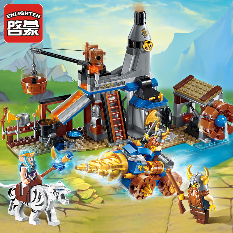 Enlighten Glory War Educational Building Blocks Toys For Children Gifts Castle Knight Heros Weapon Elfin Smithy Compatible Legoe enlighten new 2315 656pcs war of glory castle knights the sliver hawk castle 6 figures building block brick toys for children