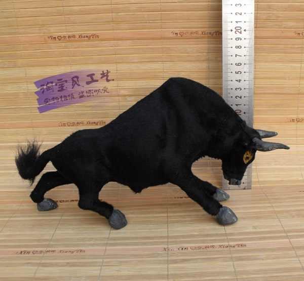 Моделирование Черная корова Игрушка полиэтилен и меха ручной игрушечный бык подарок около 30x8x16 см 2446