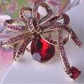 Marca de luxo Vermelho Broche Pin de Cristal Austríaco Broche de Pino de Colar Feminino Do Vintage E Acessórios Kawaii Bow Broches Hijab