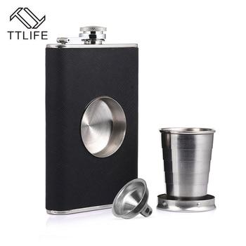 TTLIFE Нержавеющаясталь 8 унц. кувшин складной чашка с герметичной колбу вино пот виски Barware напиток открытый ликер Лейка для вина из пробки