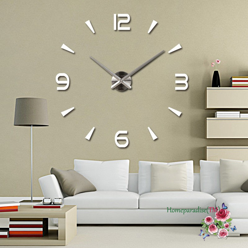 "25""- 40"" Arabic Numbers Arrows Large Hands Mirror Wall Clock Oversized Clock Living Room Decor Wall Sticker Decal Decoration"