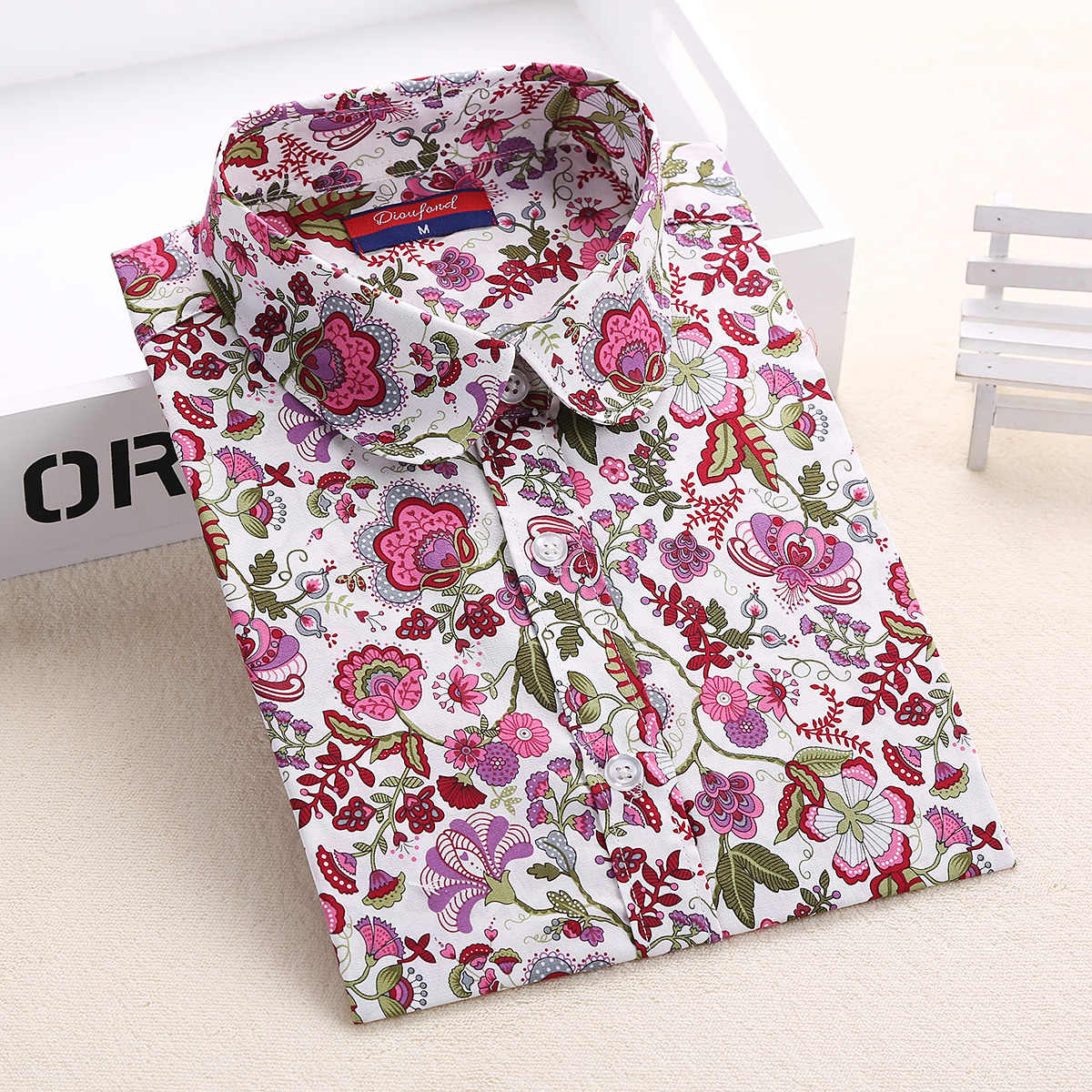 Dioufond Floral Shirts Women Blouses Blouse Cotton Blusa Feminina Long Sleeve Shirt Women Tops And Blouses 2016 New Fashion 5XL