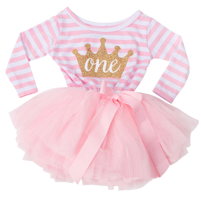 587e0a02b4425 US $6.5 38% OFF|Summer Striped Long Sleeve Baby Girl Dress 1st One Years  Communion First Birthday Outfits Christening Tutu Dress Toddler Costume-in  ...