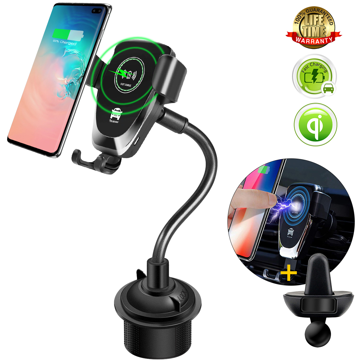 Car Cup Holder Gravity Wireless Charger for Samsung Note 10 9 8 S10 Plus 5G iPhone 11 X XS Max Car Air Vent Mount for Huawei P30