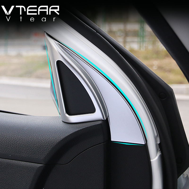 US $12 8 36% OFF|Vtear For Kia Rio 4 X line Interior Mouldings door speaker  products high stereo cover car decoration Accessories part 2017-in