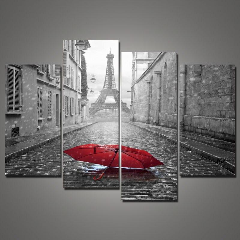 4 piece paris kota pemandangan payung merah hitam dan putih minyak lukisan untuk dekorasi dinding rumah canva art hd cetak gambar di painting calligraphy