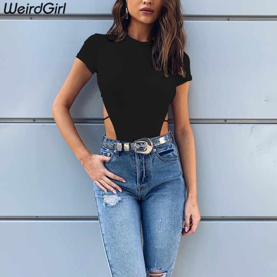Weirdgirl женский тонкий сексуальный боди открытые вечерние Клубные с круглым вырезом с коротким рукавом Комбинезоны однотонные белые черные модные новые летние