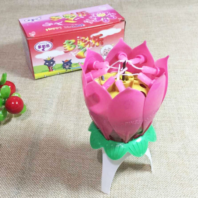 Musical Lotus Flower Birthday Party Candle Gift Sparkler Cake Topper Candles Rotating Spin Light