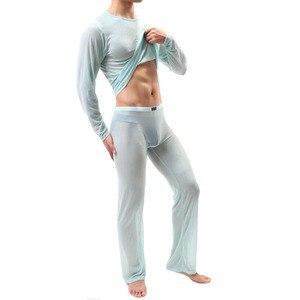 Image 4 - Kwan. z pijama hombre 얇은 투명 섹시한 남성 속옷 잠옷 잠옷 긴 소매 잠옷 남성 메쉬 편안한 세트