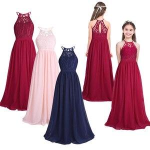 Image 2 - Tiaobug רקום פרח בנות שמלת הלטר שרוולים כלה חתונה לנשף מסיבת אירוע רשמי בגיל ההתבגרות רצפת אורך שמלה