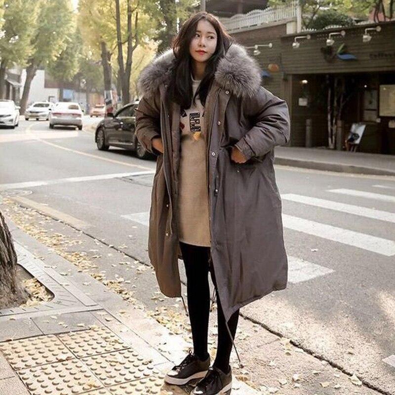 Col Chaud 2018 Manteau Noir gris Outwear Veste Lâche army De Casual Nouvelle Femmes D'hiver Green Fourrure Hiver Parkas À Capuche Épaississement Longue Grand ZqUdSxYd
