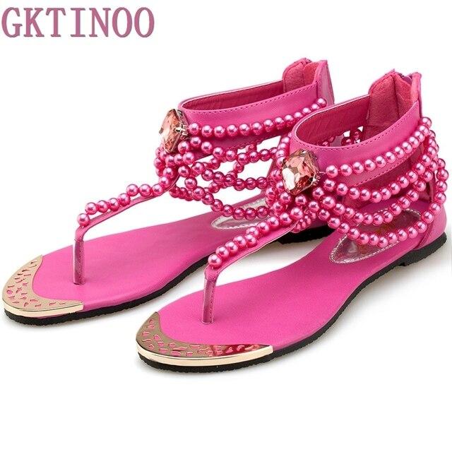 6450915dd74bb Shoes woman 2018 Summer shoes flat sandals women Bohemia Handmade Beaded  Flats Female Sandals Pearl Rhinestone Flat Sandals