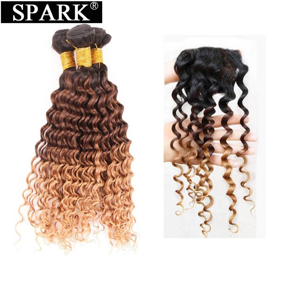 Spark Human Hair Bundles with Lace Closure Ombre Brazilian Deep Wave Hair 3 4 Bundles with