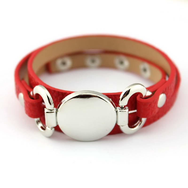 13 Colors Option Leather Wrap Monogram Bracelet  Blank Disc Charm - Fashion Jewelry - Photo 4