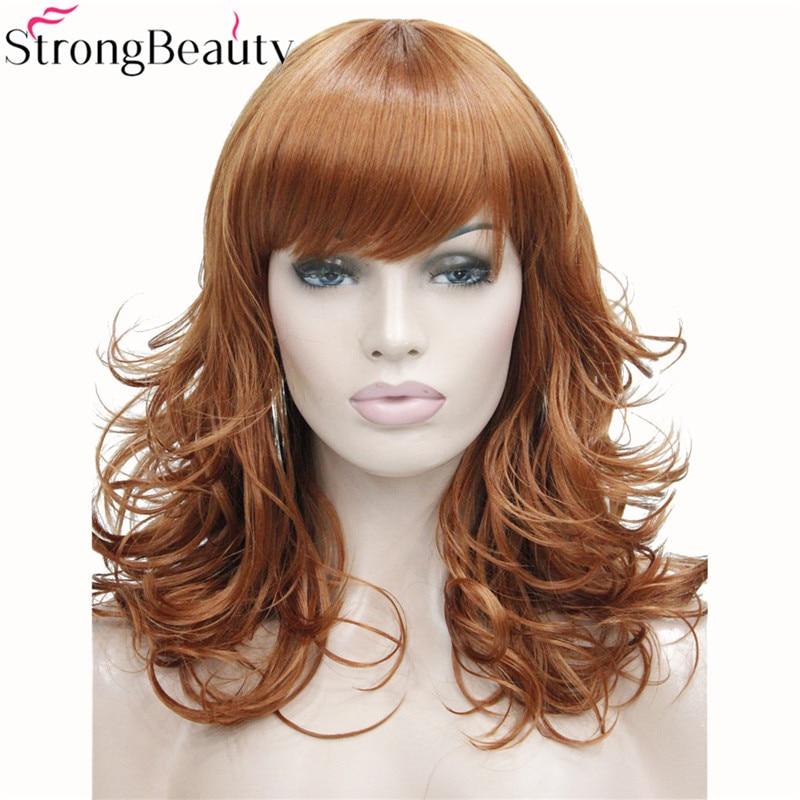 StrongBeauty 合成ミディアムカーブラウンブラックブロンド系 Amrican 女性の前髪とwig blackwig black curlywig brown -