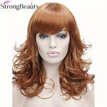 StrongBeauty syntetyczne średnie peruki z kręconymi włosami czarne blond brązowe peruki dla afrykańskich Amrican kobiece włosy z grzywką