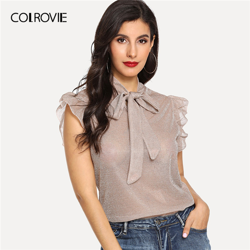 COLROVIE Apricot Cap Sleeve Tie Neck Ruffle Armhole Glitter Elegant   Blouse     Shirt   Women 2019 Summer   Shirts   Office Ladies Tops