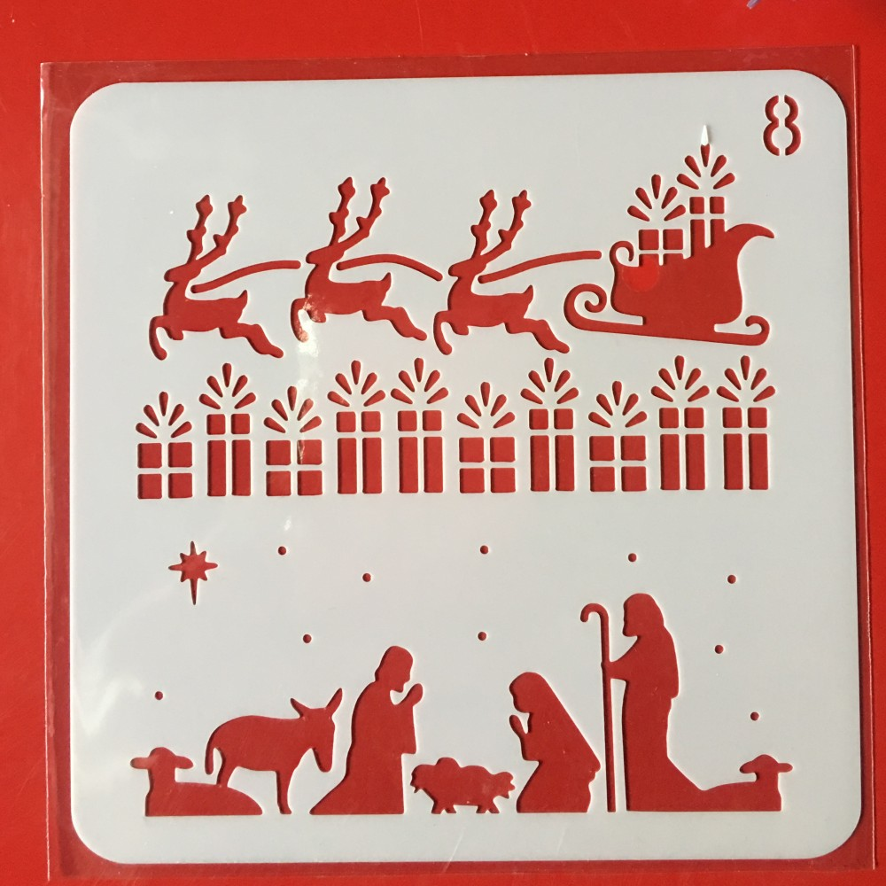 Hot 13cm Christmas Deer DIY Layering Stencils Wall Painting Scrapbook Coloring Embossing Album Decorative Card Template
