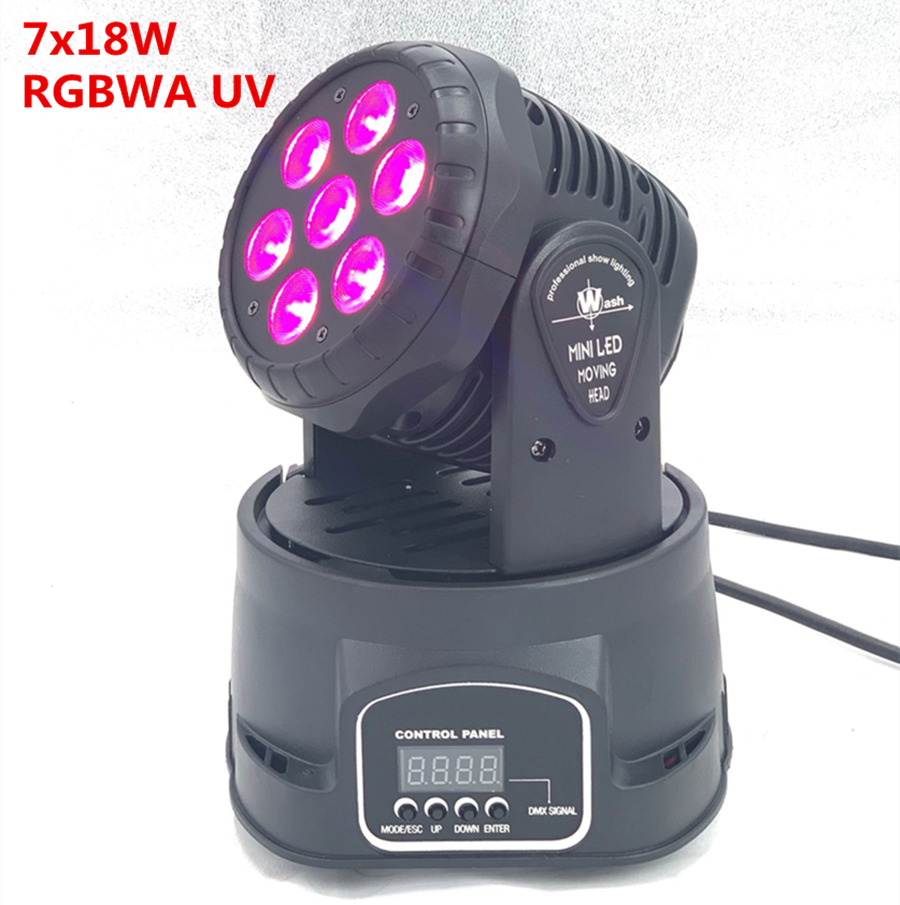 LED 7x18W Led Mini Moving Head Light 6in1 RGBWA+UV Professional For Effect Stage For Disco DJ Music Party Club Dance Led Par