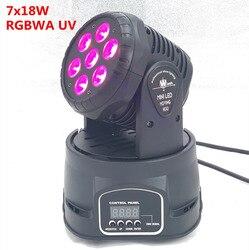 LED 7x18W led mini reflektor z ruchomą głowicą 6w1 RGBWA + UV profesjonalny do etapu efektów dla Disco DJ impreza muzyczna zabawa W klubie led par