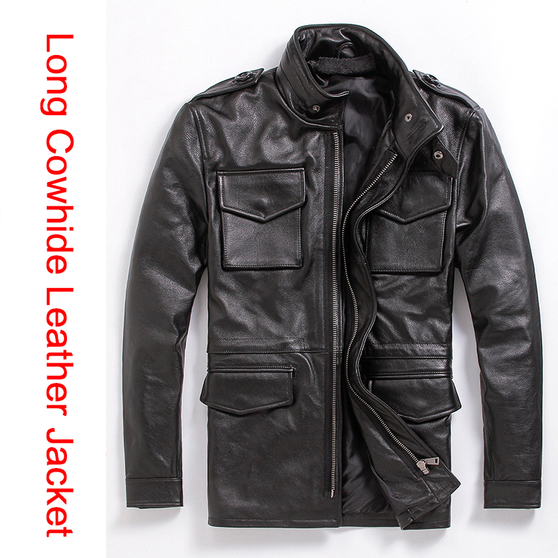 Cowhide leather long M65 jacket alpha male big yards men draw string waist tie cap longer leather jacket(China)