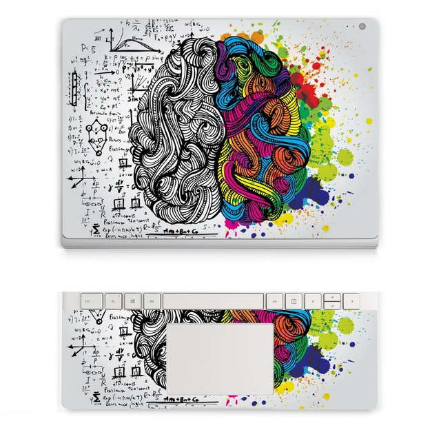 "GOOYIYO - For Surface Book 13.5"" 2015 New Laptop Sticker Top & Wrist Pad Vinyl Decal Left Right Brain Print DIY Skin Logo Cut"