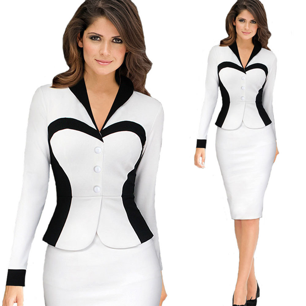 Womens Elegant 2018 Ruched Button Peplum Stitching Casual Wear To Work Office Business Party Bodycon Pencil Sheath Dress Formal