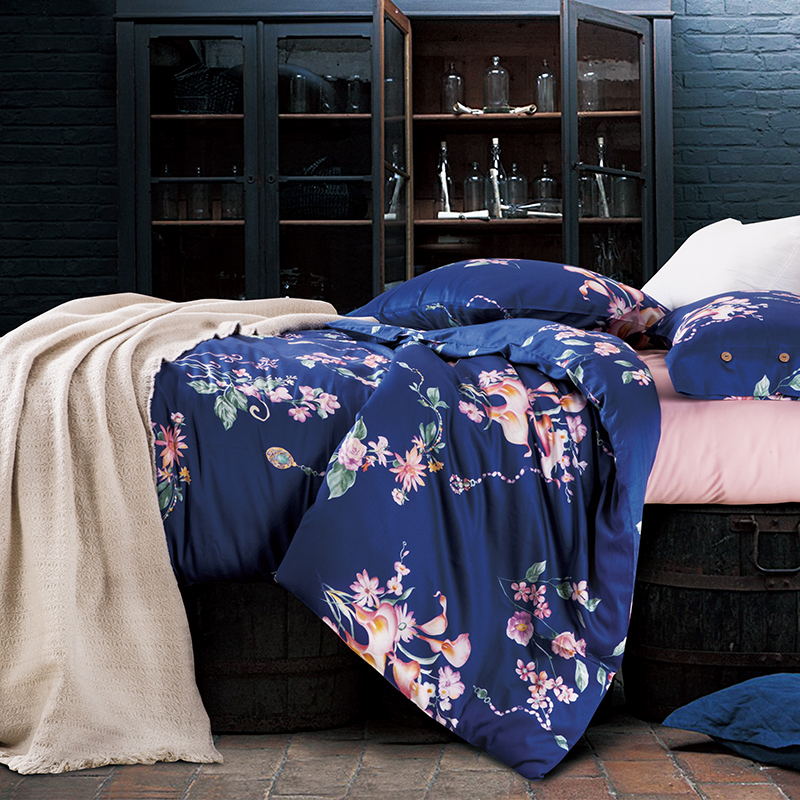 simple floral queenking size bedding sets egyptian cotton bedlinens deep blue customized duvet cover