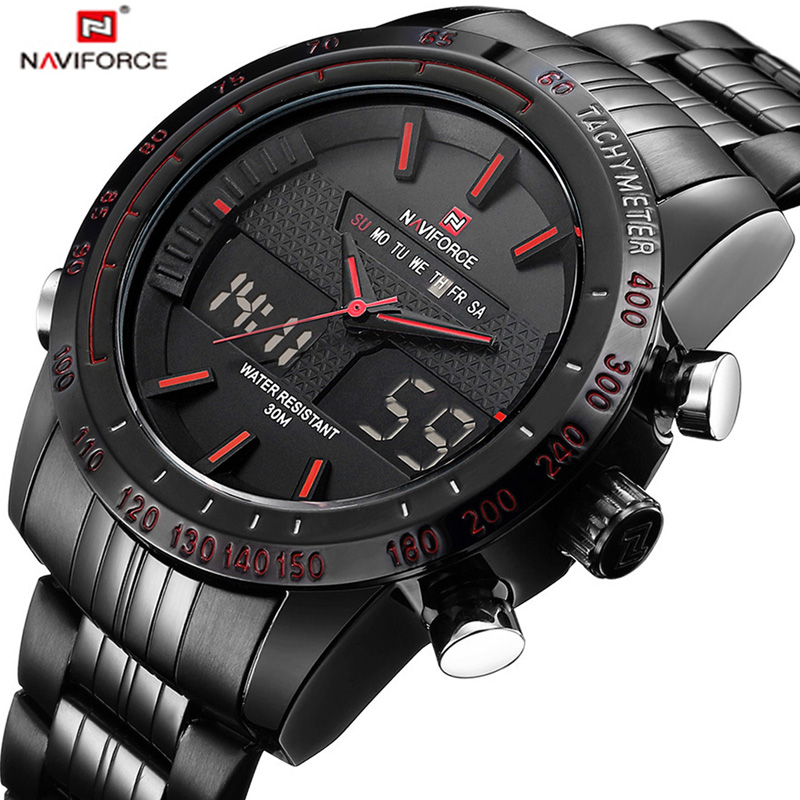 NAVIFORCE Luxury Brand Watches Men Full Steel Quartz Analog Digital Army Militär Sport Watch Man Klocka Relogios Masculinos