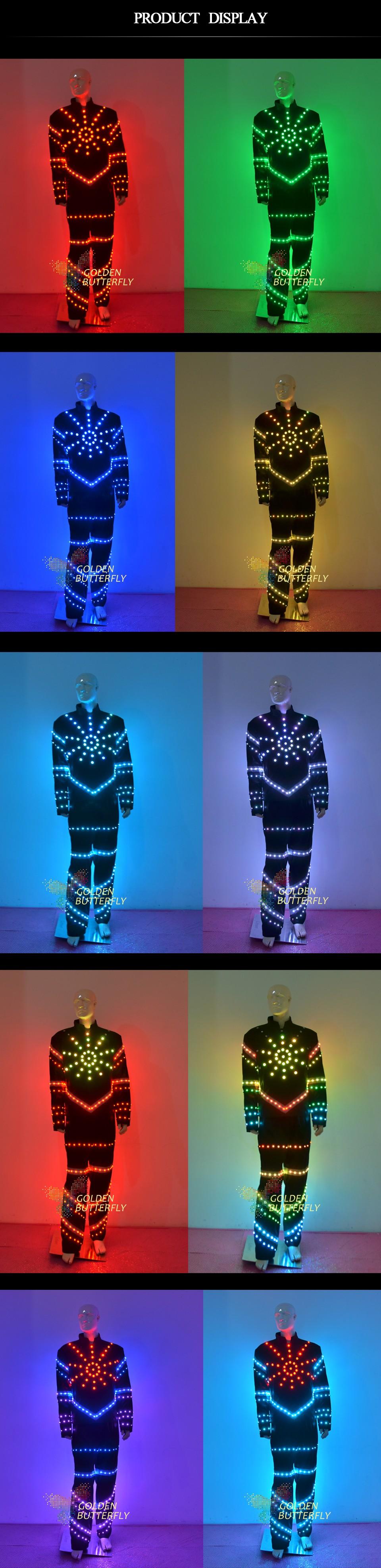Värviliste LED tuledega kostüüm meestele