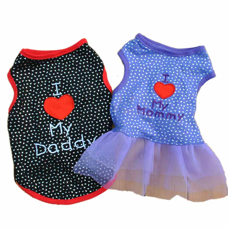 I Love My Daddy Puppy Vest T Shirt Summer Pet Apparel Cute Big Red Heart Small Dog Cat Pet Clothes Dots T-shirt XS S M L5