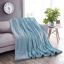 Plain Color Lamb Blanket Double Layer Thick Autumn and Winter Nap