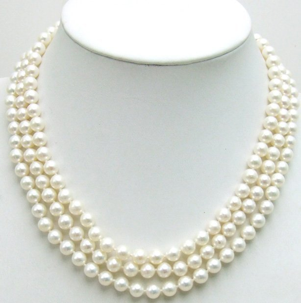 AAA+ GRADE 3 Strings perfect round 6-7MM freshwater PEARL NECKLACE WITH Gold CLASP -5358 Wholesale/retail Free shipping