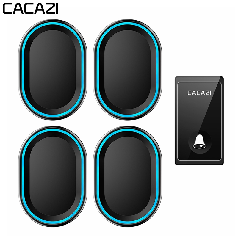 CACAZI Self-powered Wireless Doorbell 1 Buttons 4 Receivers Waterproof No Battery Required Home Call bell US EU UK Plug 58 ChimeCACAZI Self-powered Wireless Doorbell 1 Buttons 4 Receivers Waterproof No Battery Required Home Call bell US EU UK Plug 58 Chime