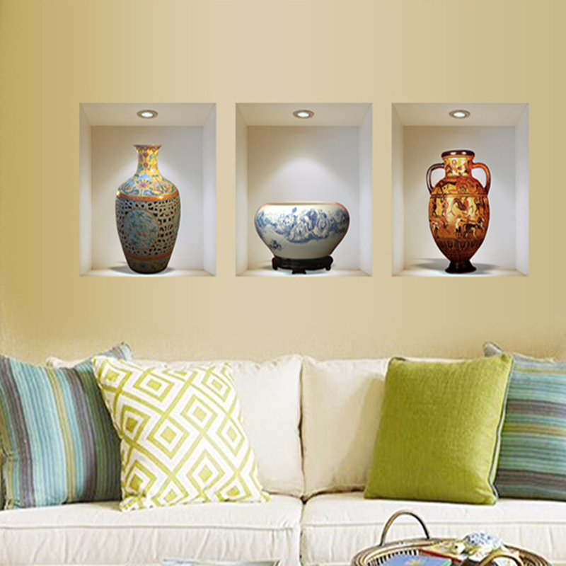 Chinese style ceramic vase vinyl wall stickers home decor - Wall sticker ideas for living room ...