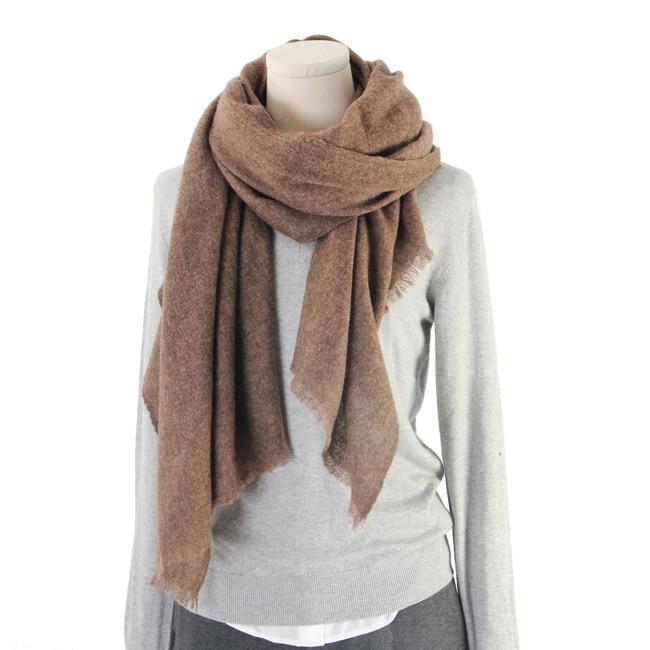Yak Wool Pashmina Shawl Scarf Wrap Brown Color Stripe