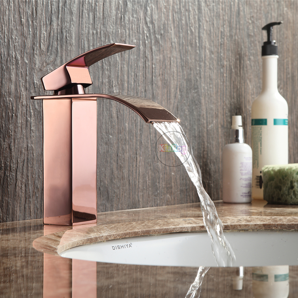 Bathroom rose gold waterfall faucet in basin faucets from for Rose gold bathroom decor