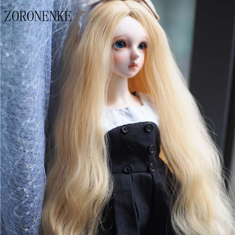 ZORONENKE 2018 New Arrival 1/3 1/4 1/6 Bjd SD Doll Wigs High Temperature Wire Long Blonde Curly Doll Wig For Dolls Accessories newest 1 3 1 4 1 6 bjd sd doll wig wire light blonde colors high temperature bjd super dollfile for doll hair wig