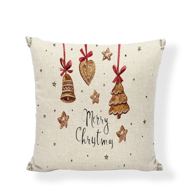 Simple Christmas Dress Up Cushion Set Bells Birds Socks Fire Santa Claus Christmas Tree Style Pillowcase Decorating Living Room in Cushion Cover from Home Garden