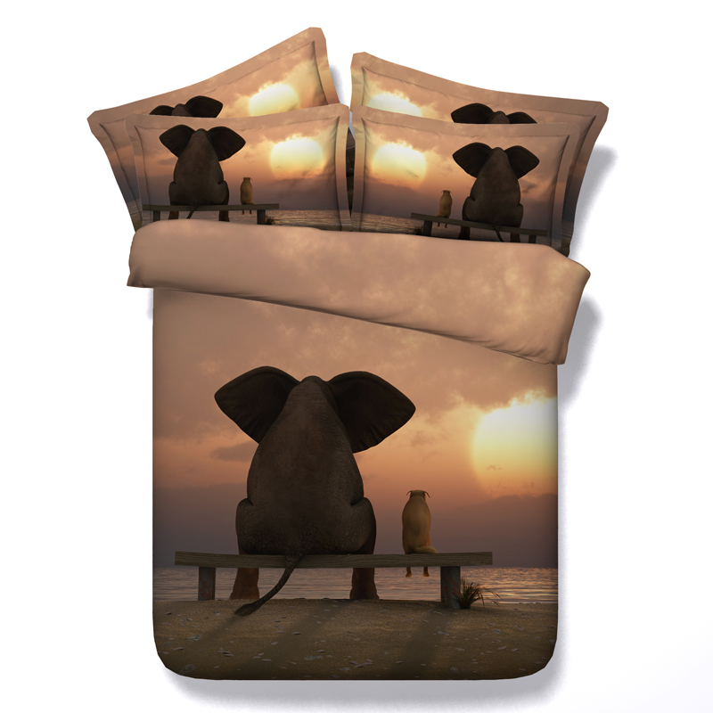 Elephant Dog Animal Sunset 3D Printed Comforter Bedding Twin Full Queen Super Cal King Size Bed Sheets Duvet Covers Sets ChildElephant Dog Animal Sunset 3D Printed Comforter Bedding Twin Full Queen Super Cal King Size Bed Sheets Duvet Covers Sets Child