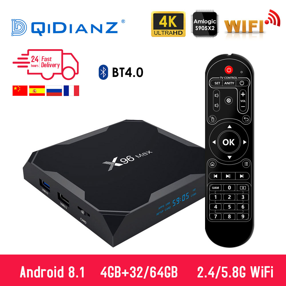 X96 Max Smart tv box Android 8.1 2,4G/5G Wifi Bluetooth 4,0 S905X2 Quad Core 4 K 1080 P Volle HD Netflix Player X96max Set-Top Box