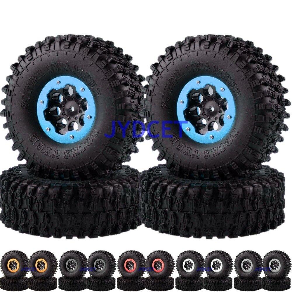 4031-7037 Rock Crawler Beadlock Wheel Rims & Super Swamper Rocks Tyre / Tires 4pcs For 1/10 RC CC01 D90 SCX10