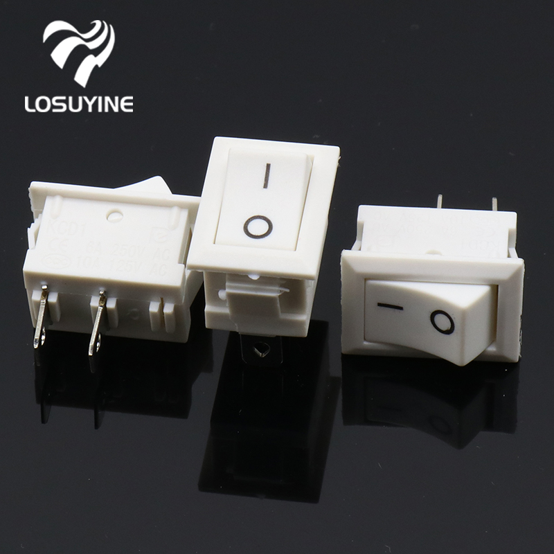 10pcs/lot 10*15mm White 2PIN SPST ON/OFF G134 Boat Rocker Switch 3A/250V Car Dash Dashboard Truck RV ATV Home 2pcs lot red 4 pin light on off boat button switch 250v 16a ac amp 125v 20a