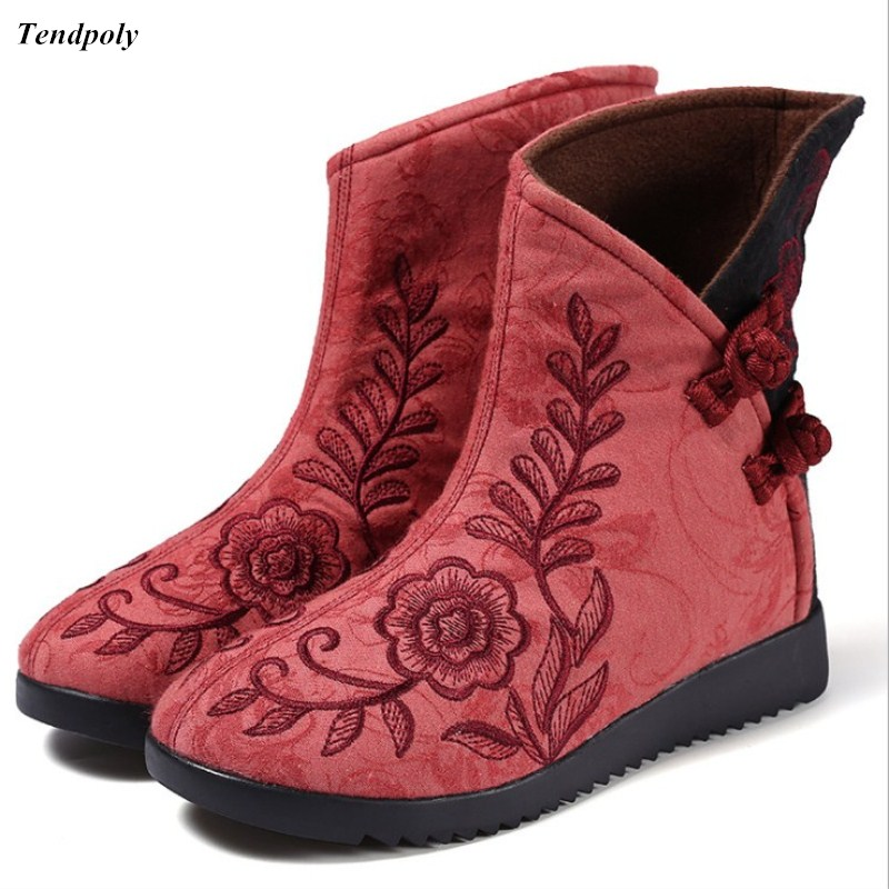 The new size (35 - 40) Chinese genuine wind Folk Style Embroidered Cotton Women's boots embroidered cloth old Beijing shoes win size 34 41 fashion shoes woman old beijing mary jane flats casual chinese style peony flower embroidered cloth canvas shoes