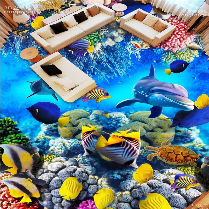ФОТО Free Shipping Sea World Dolphin Coral 3D floor painting decoration non-slip thickened square living room bathroom flooring mural