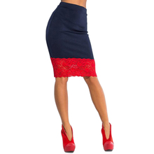 High Waist Stretch Pencil Skirt with Lace Trim