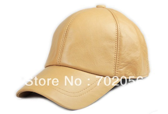 Unisex Fashion real leather Baseball CAP Ball Cap sheepskin Leather hat Stylish Baseball Ball Cap hats 12pcs/lot #3095
