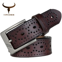 COWATHER 2016 Newest Design Men Belts High Grade Cow Genuine Leather Fashion Pin Buckle Ceinture